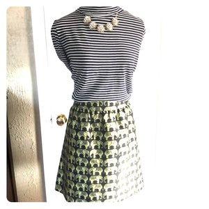 Navy/white turtle neck top, navy skirt